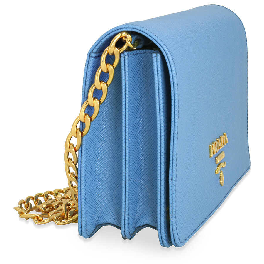 fe132bb34712 Prada Lux Saffiano Leather Crossbody Wallet - Light Blue - Prada ...