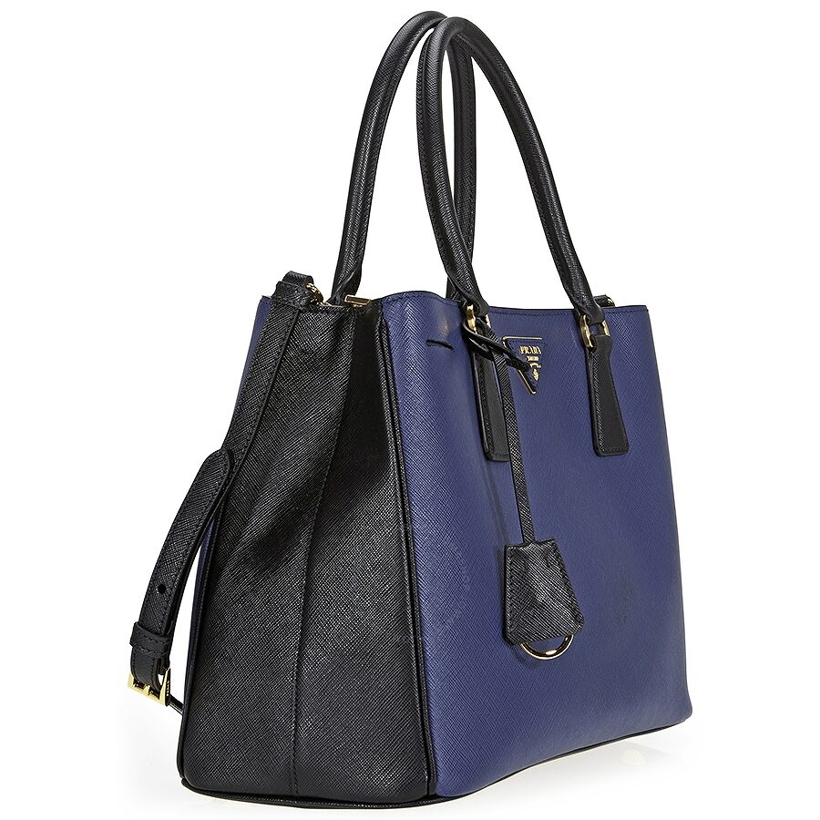 6c02b0bbf8ed4d ... aliexpress prada lux saffiano leather tote blue and black 9e1a8 207c8