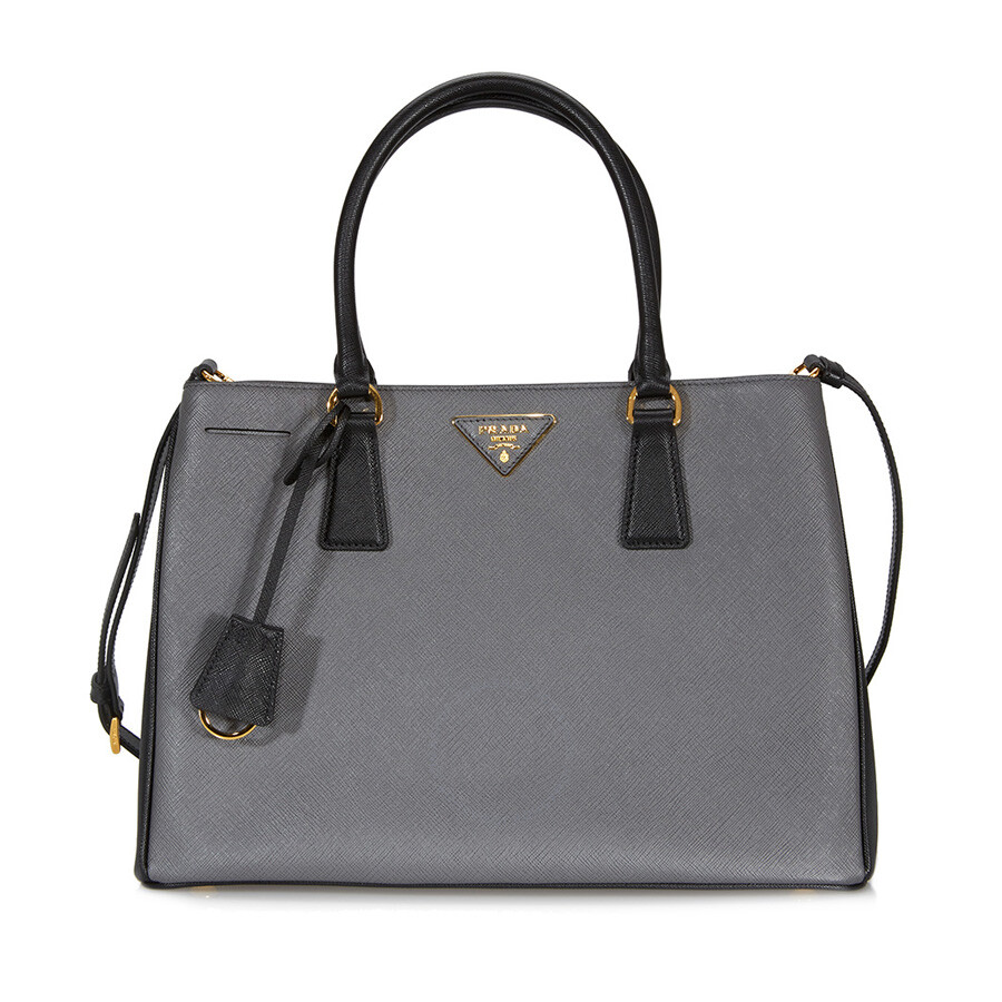 Prada Lux Saffiano Leather Tote - Mercury and Black - Prada ...