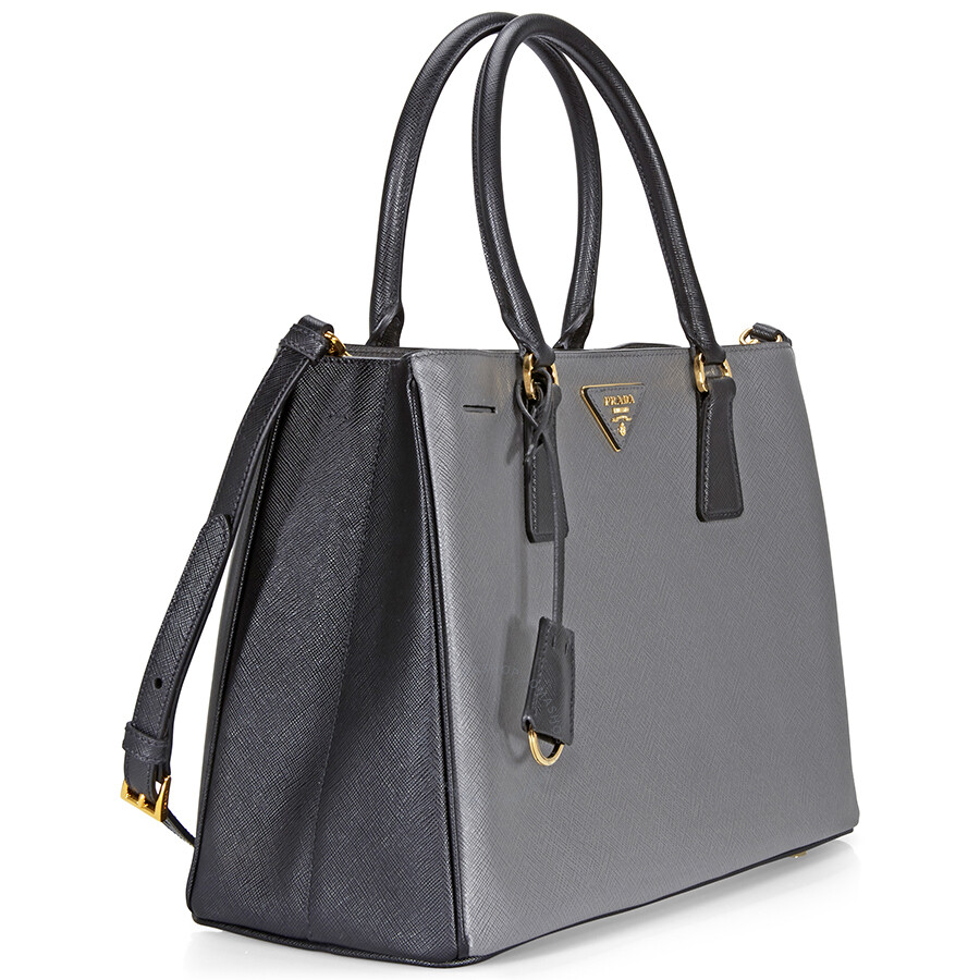 Prada Lux Saffiano Leather Tote - Mercury and Black - Prada ... 05f503ed9f