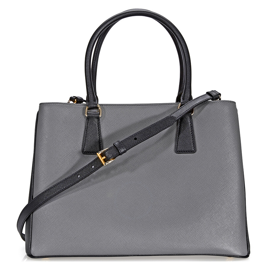 prada lux saffiano leather tote mercury and black