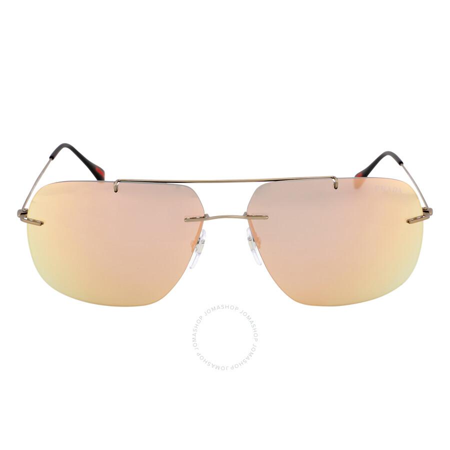 a96fbf1be12d3 Prada Matte Grey Mirror Rose Gold Sunglasses PS 55PS-ROU2D2-63 ...