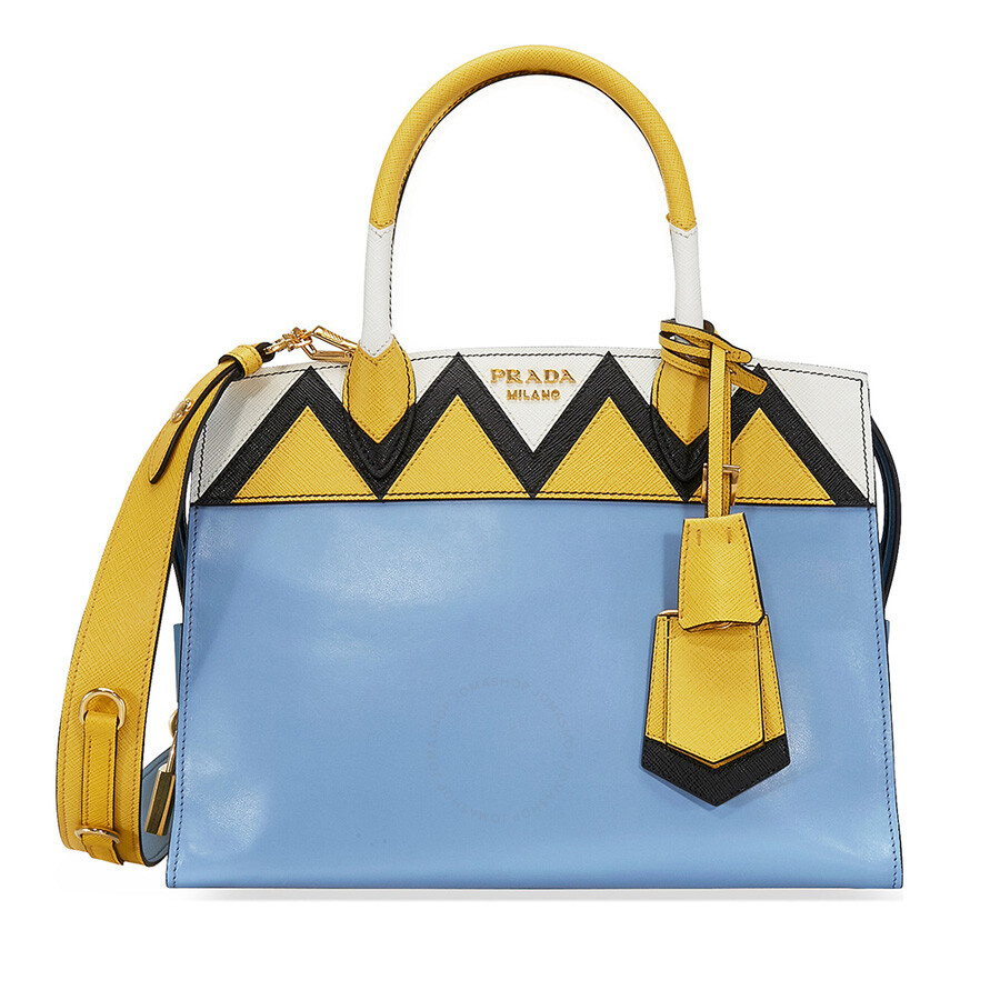 bbaf89d9f7c896 where can i buy prada medium esplanade leather tote bag astral blue sunny  yellow 30e01 5ea5a