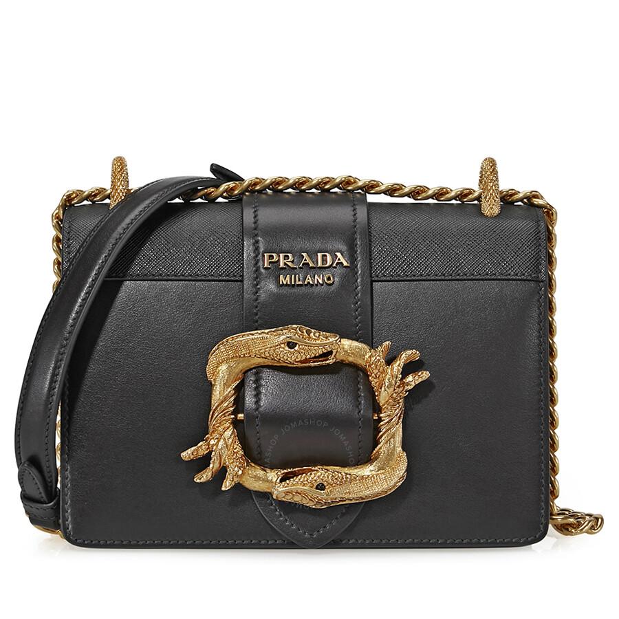 dcfedc0a5ada Prada Medium Leather Cahier Shoulder Bag - Black - Prada .