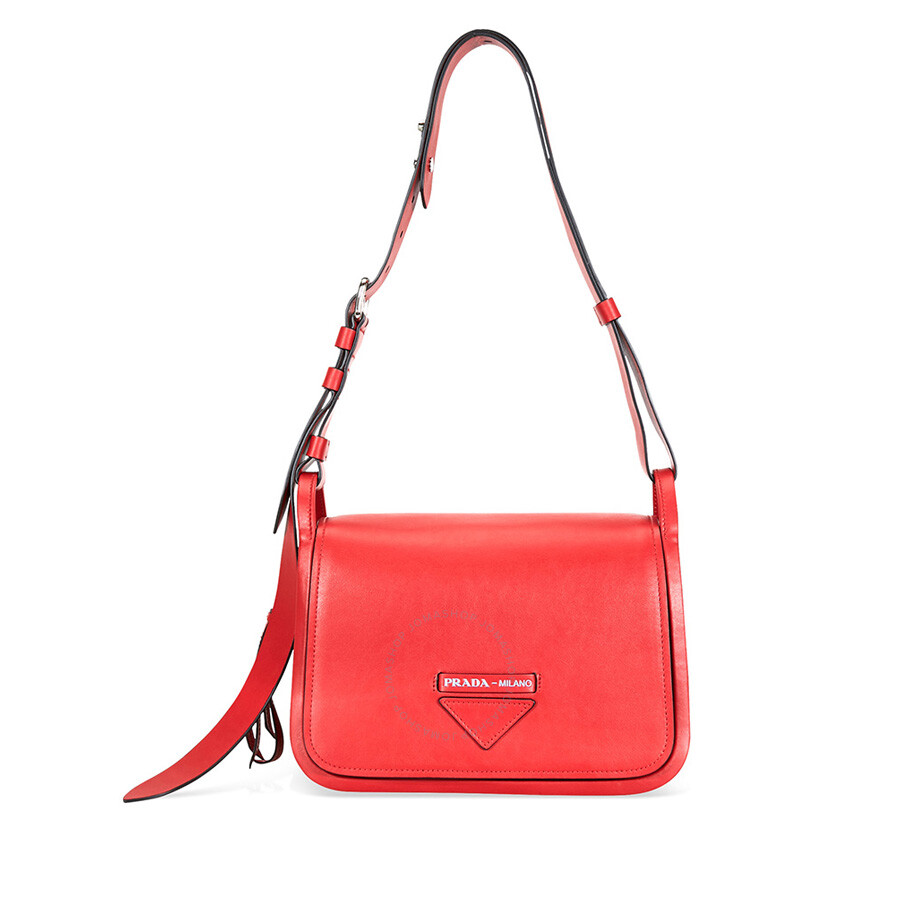 8146e6498493 Prada Medium Leather Shoulder Bag- Red - Prada - Handbags - Jomashop
