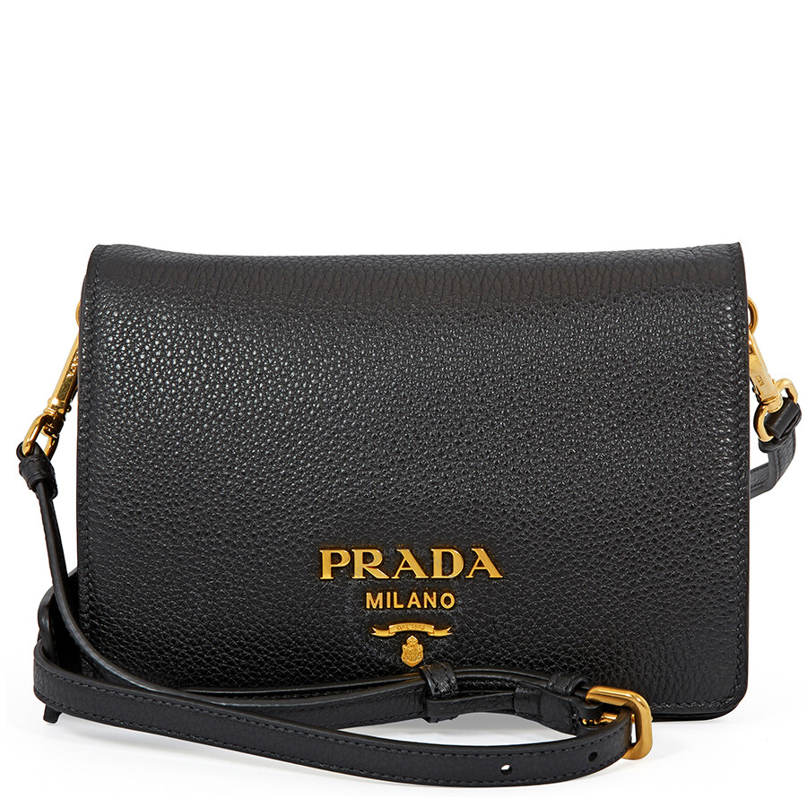 f33b971c3ac4 Prada Medium Pebbled Calf Leather Crossbody - Black Item No.  1BD102 2BBE F0002 V NOO