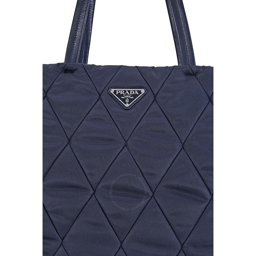 384916ae749 Prada Medium Quilted Nylon Tote Bag - Navy Blue - Prada - Handbags ...