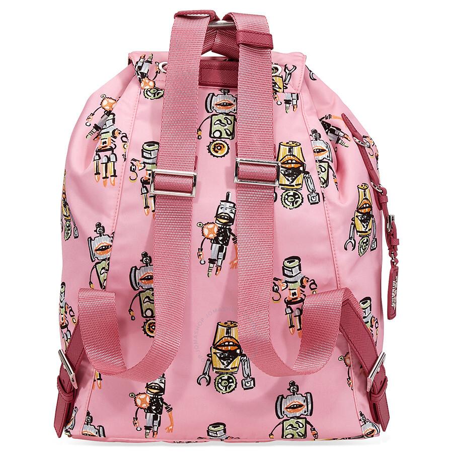 d74ebd3227e6 Prada Medium Robot Printed Backpack - Pink - Prada - Handbags - Jomashop