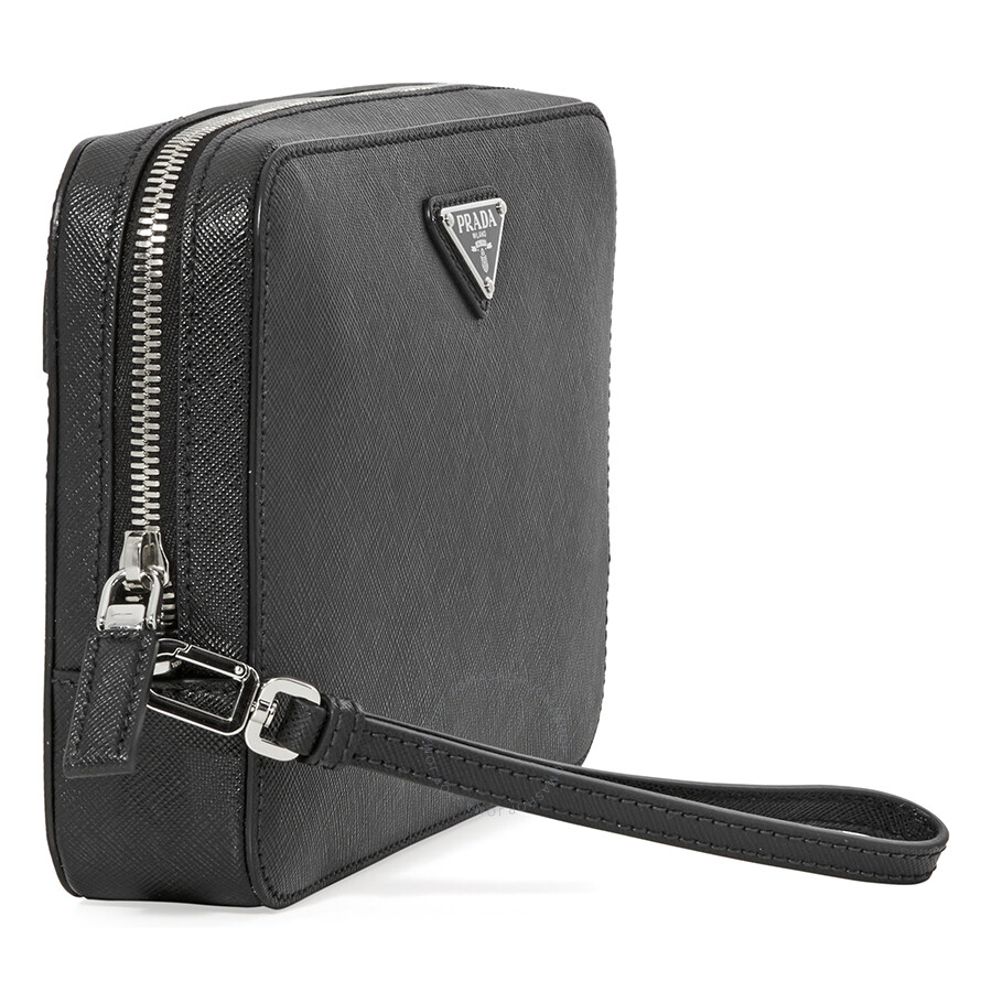 c61eae960d3c Prada Men s Zip Around Leather Clutch- Black - Prada - Handbags ...