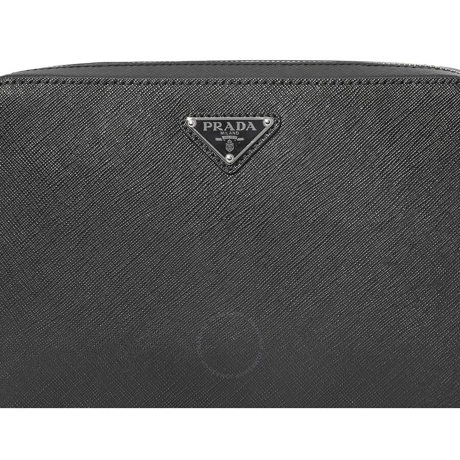 850d56a595d421 Prada Men's Zip Around Leather Clutch- Black - Prada - Handbags ...