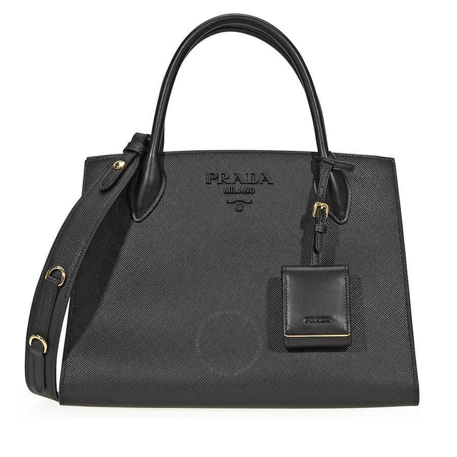 Prada Monochrome Saffiano Leather Shoulder Bag Black