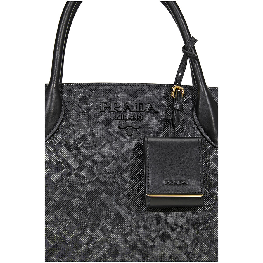 20f07f63a327 Prada Monochrome Saffiano Leather Shoulder Bag- Black - Prada ...