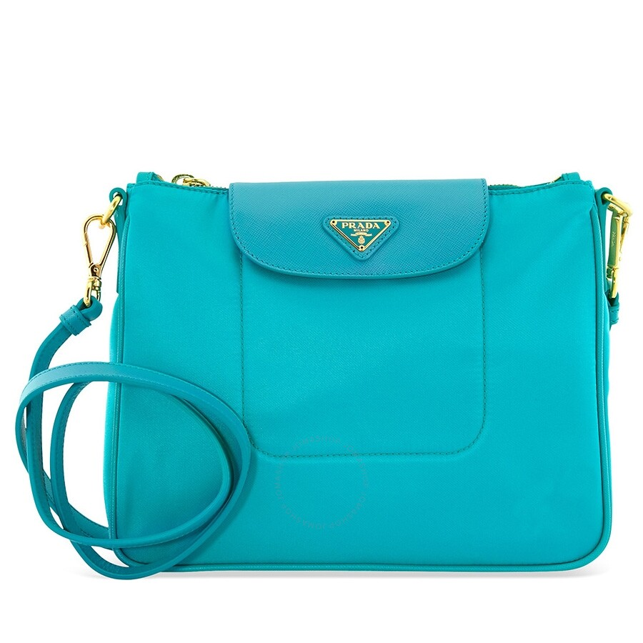 fd12e33ccfa8 Prada Nylon   Saffiano Leather Crossbody Bag- Turquoise Item No. BT0933 ZMY  F0136