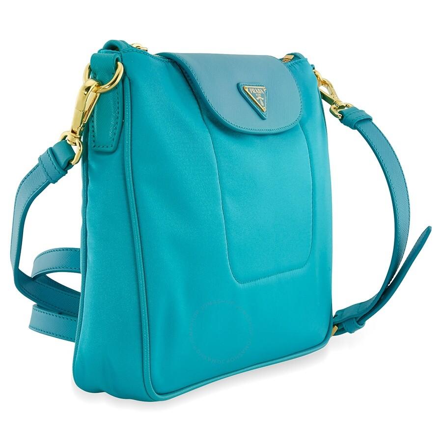 b9d7f28e7f34 Prada Nylon   Saffiano Leather Crossbody Bag- Turquoise - Prada ...