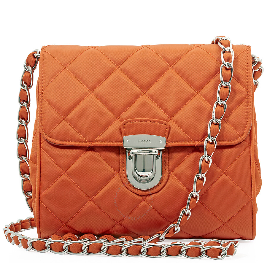 10ca59e7358d Prada Nylon and Leather Crossbody Bag- Orange - Prada - Handbags ...