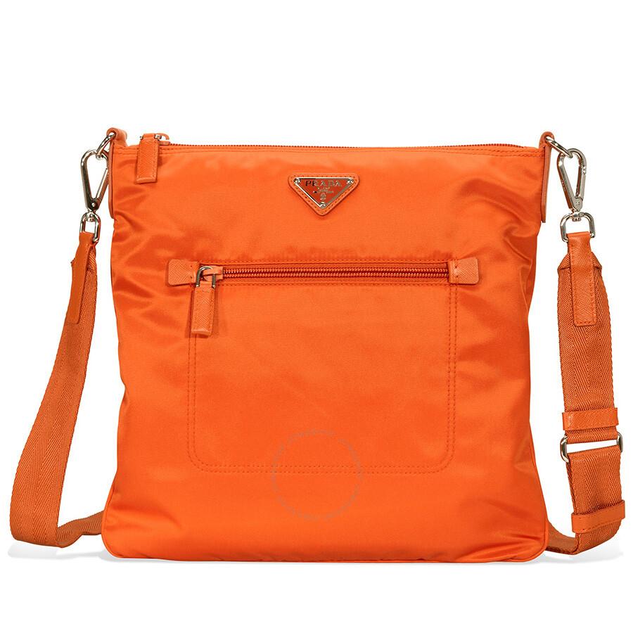 5abe974b263f Prada Nylon and Leather Crossbody Bag- Orange - Prada - Handbags ...