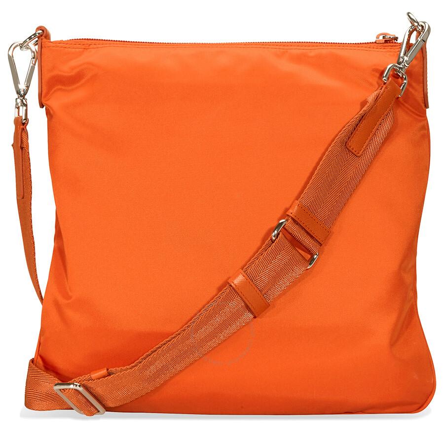 Prada Nylon And Leather Crossbody Bag Orange