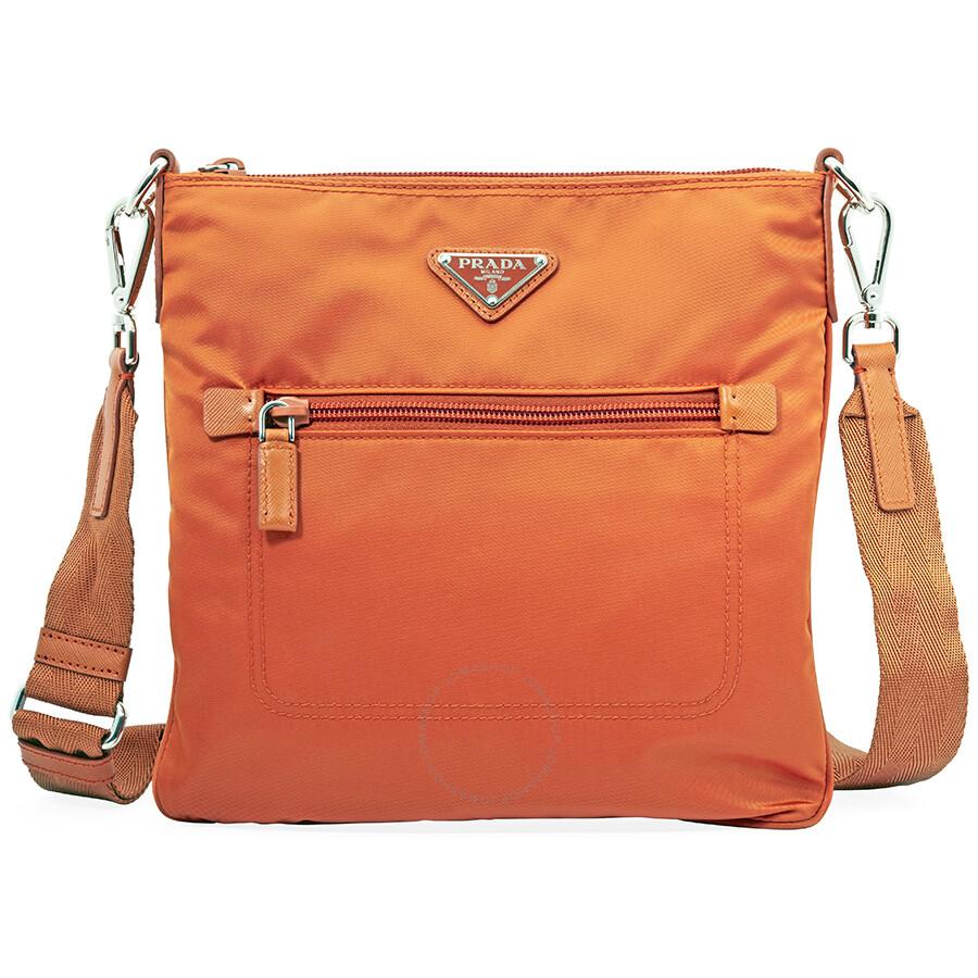 1634127343365 Prada Nylon and Leather Crossbody Bag- Orange - Prada - Handbags ...