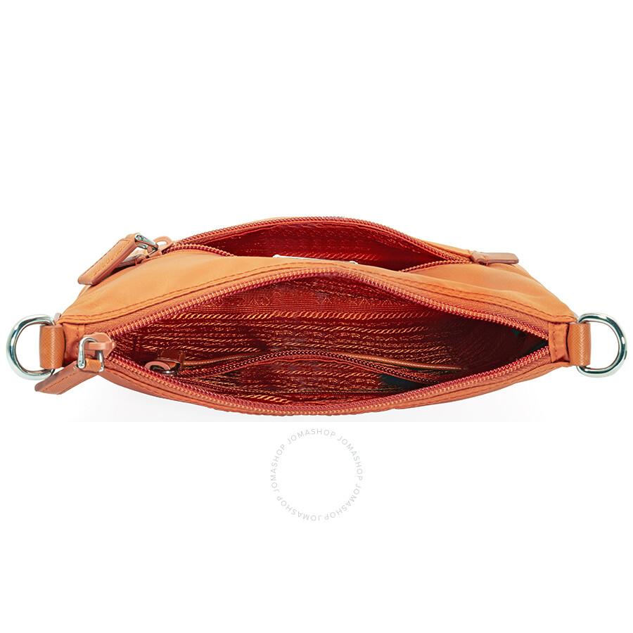 Prada Nylon and Leather Crossbody Bag- Orange - Prada - Handbags ... cf2d68187a