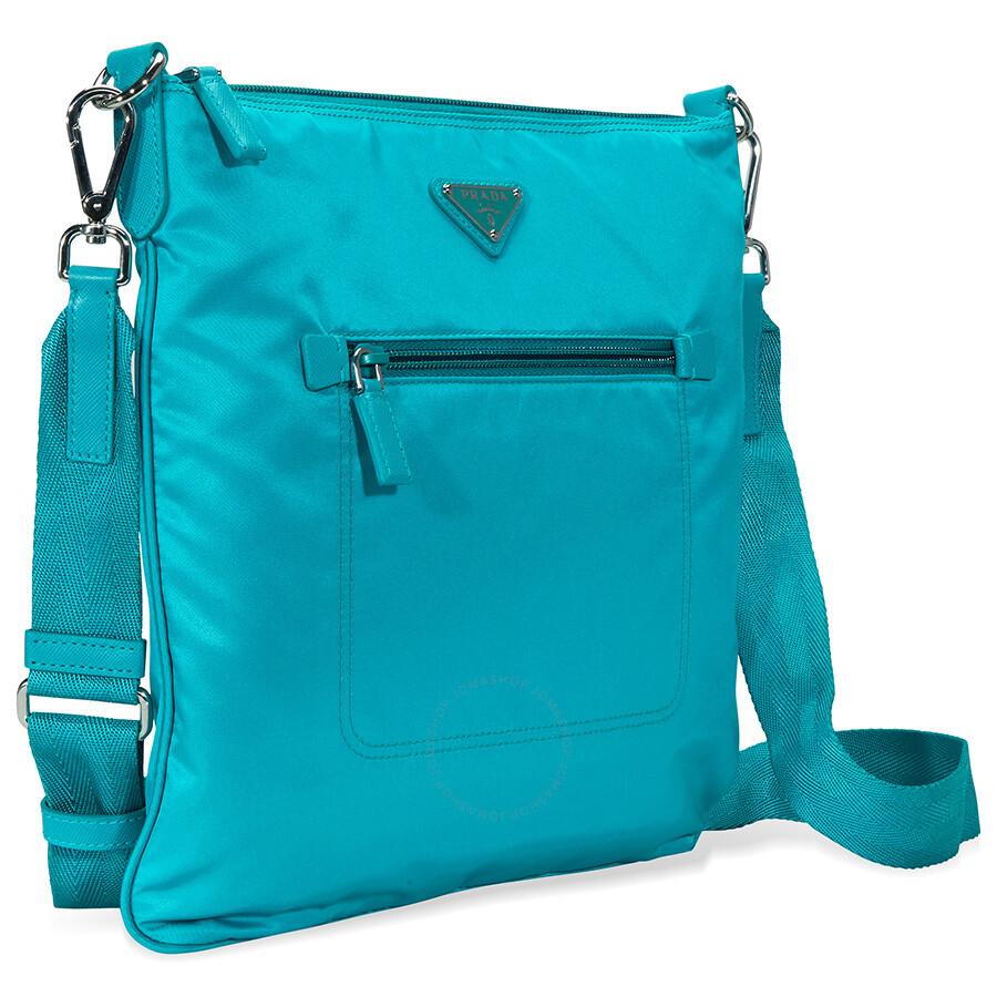 98f432c89d Prada Nylon and Leather Crossbody Bag- Turquoise - Prada - Handbags ...