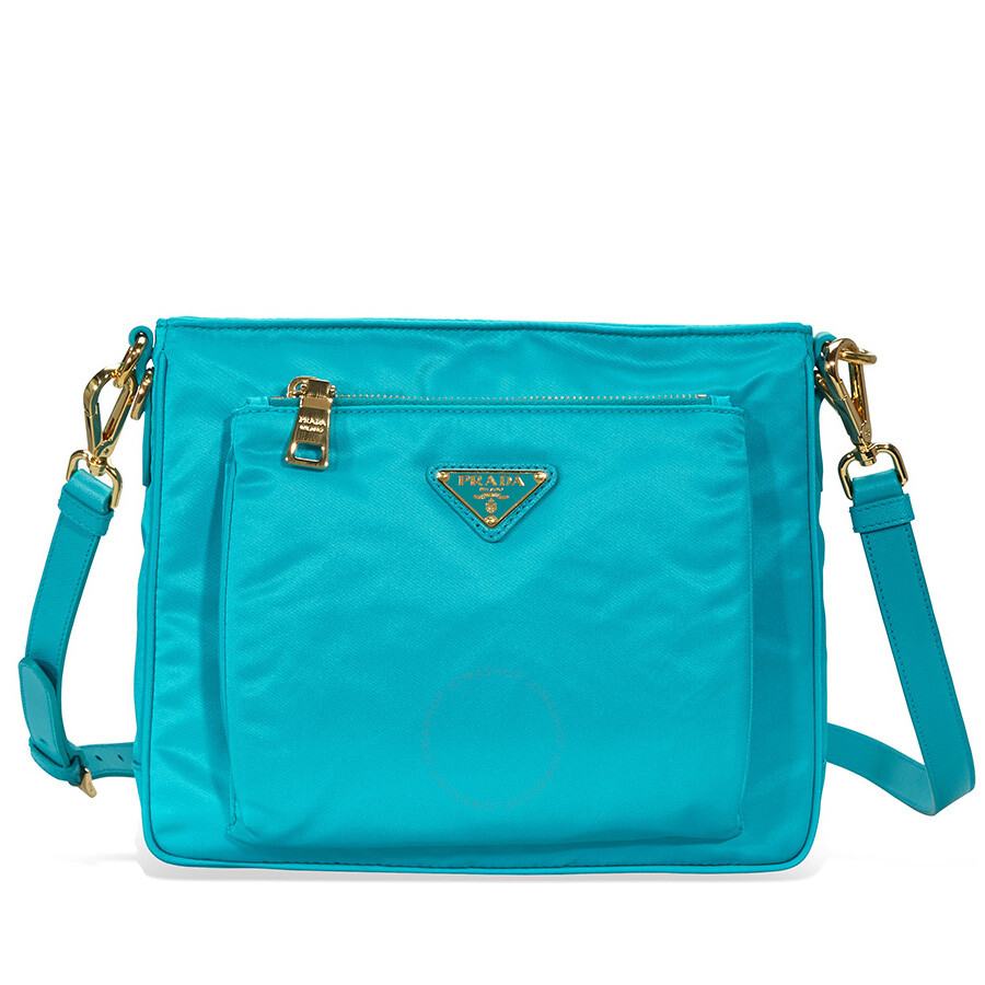 11cf0ee1421585 Prada Nylon and Leather Crossbody Messenger Bag - Turquoise Item No. BT0693  F0136