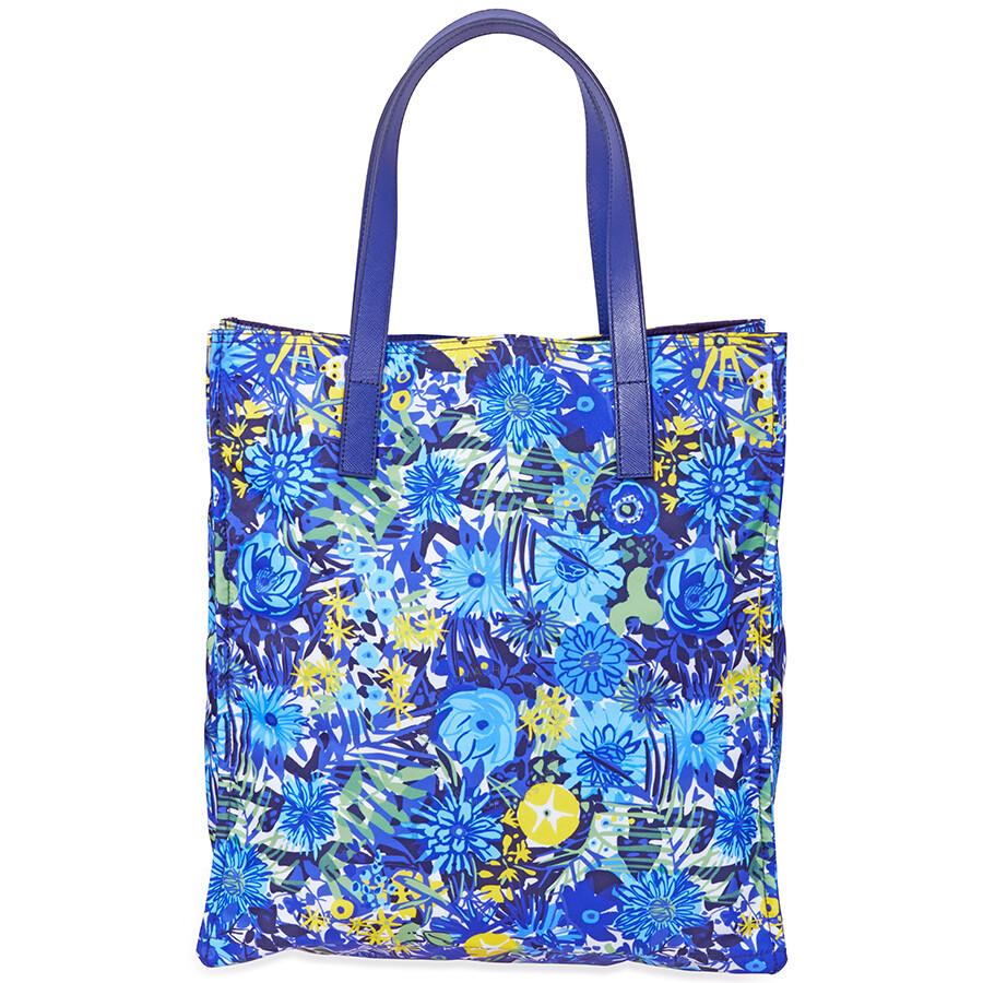 225a7e57458d Prada Nylon Floral Tote-Blue/Yellow - Prada - Handbags - Jomashop