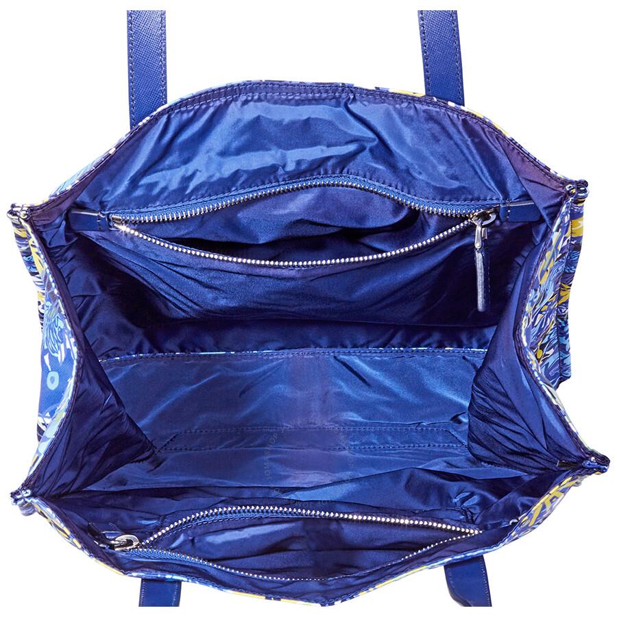 68874188e501 Prada Nylon Floral Tote-Blue/Yellow - Prada - Handbags - Jomashop