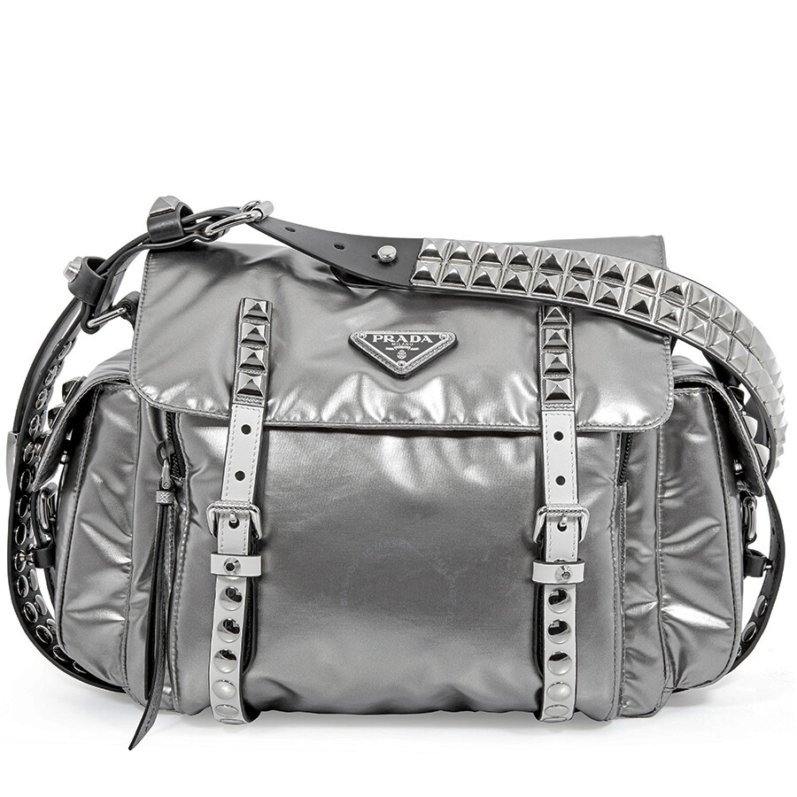 1118d94e1fe7 Prada Nylon Medium Crossbody Bag- Iron Grey Item No. 1BD118TBO2B12 F0G22