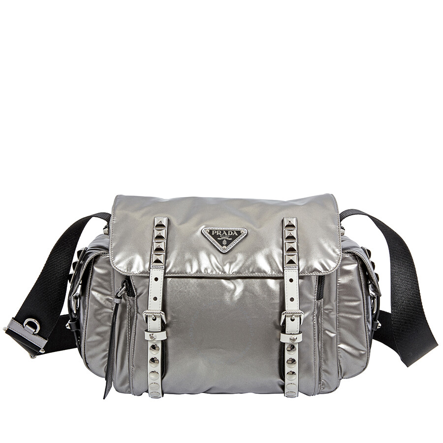 59e7ef3d7839 Prada Nylon Medium Crossbody Bag- Iron Grey/Black Item No. 1BD118 2B12 F0G22
