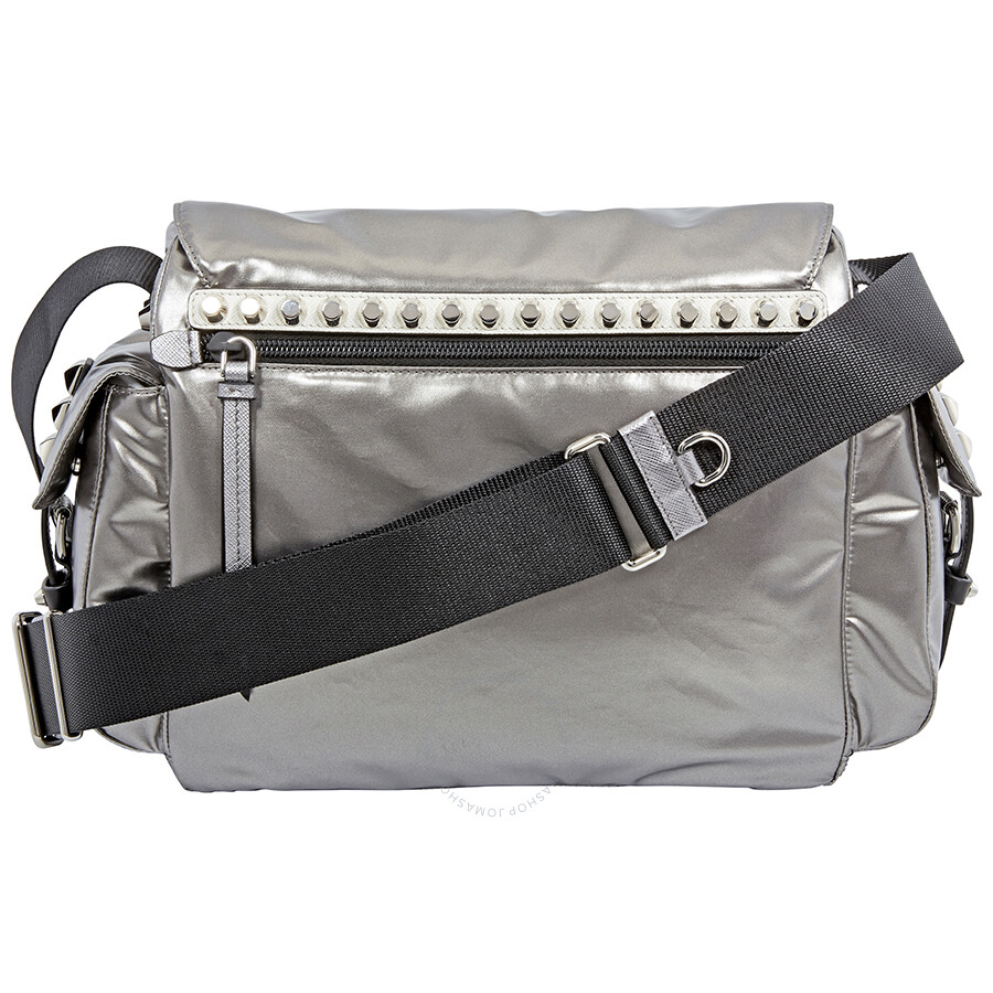 Prada Nylon Medium Crossbody Bag- Iron Grey Black - Prada - Handbags ... 62aaad3f03b89