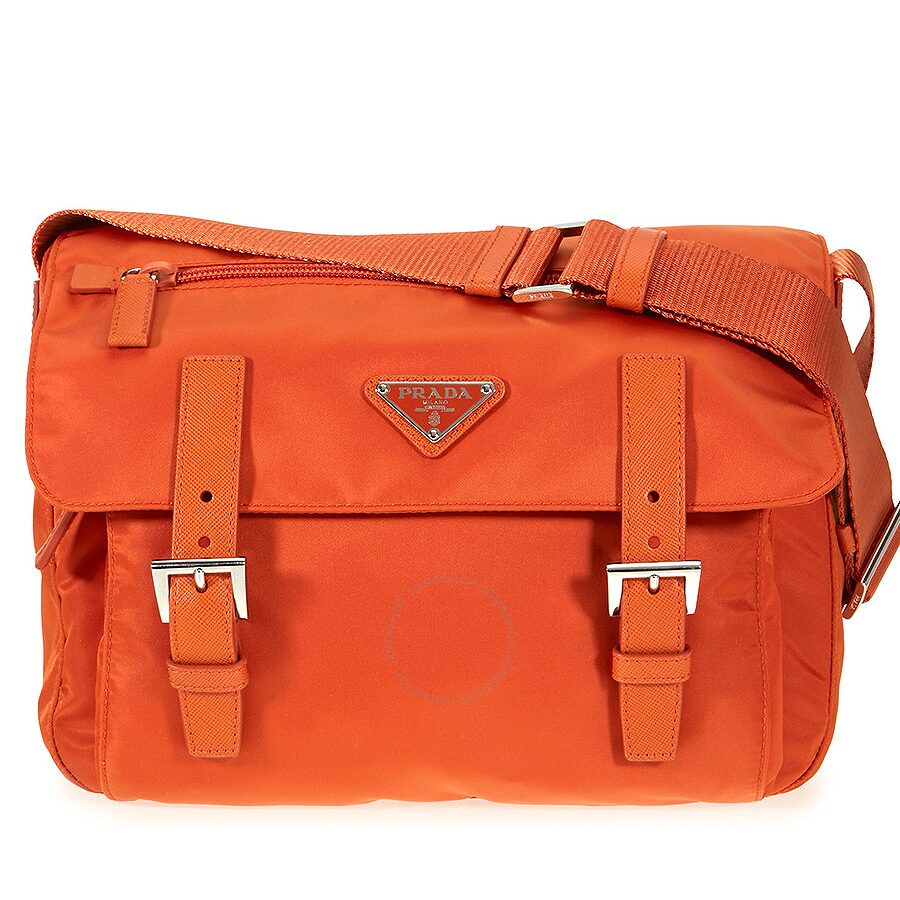 Prada Nylon Messenger Bag - Papaya - Prada - Handbags - Jomashop acbf89b3d61ed