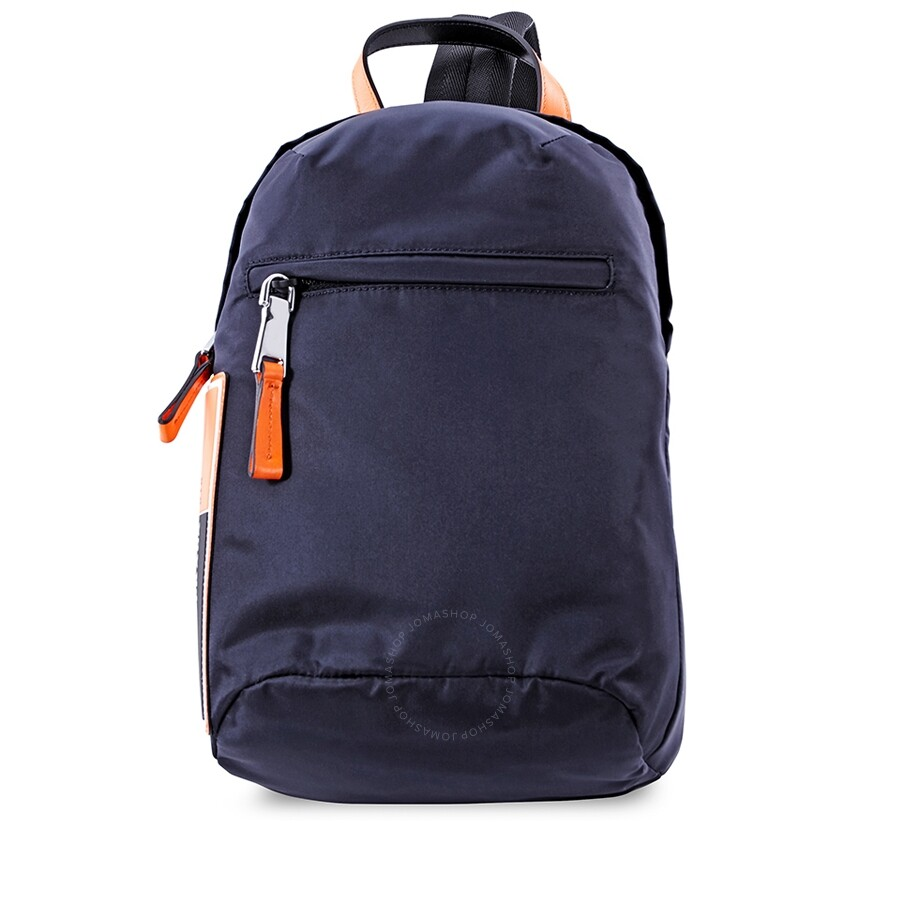 c26b3dd497aa Prada Nylon One-Shoulder Backpack- Blue/Fluo Orange Item No.  2VZ023_2BTE_F0XVT_V_OOO