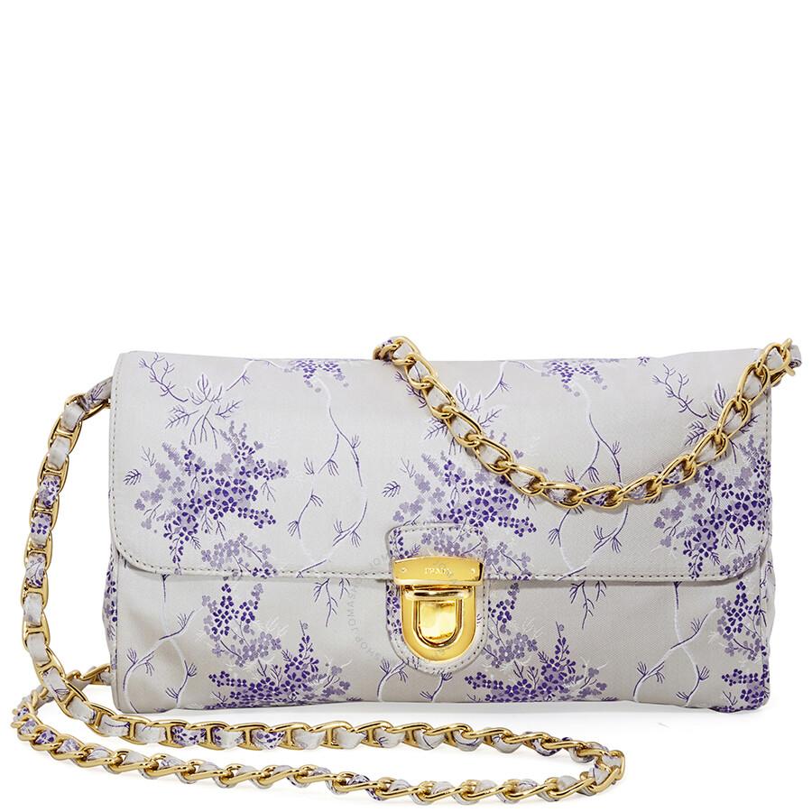 aa4f05e87cbd Prada Nylon Shoulder Bag- White/Lavender - Prada - Handbags - Jomashop