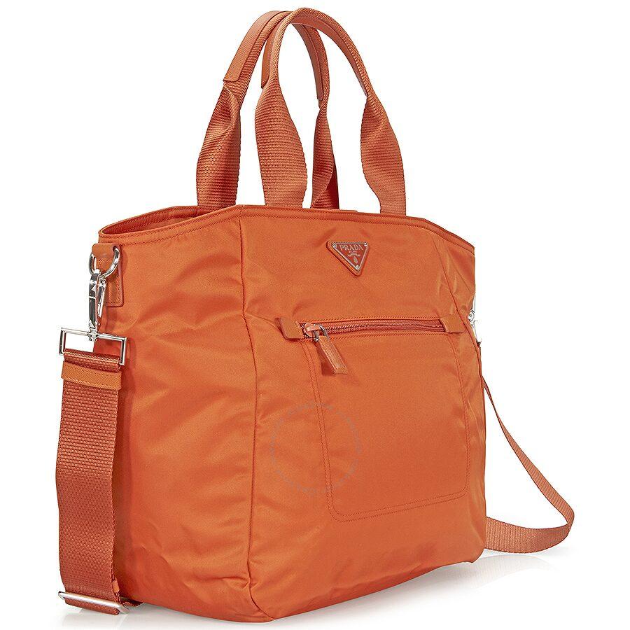 53f4df3651a7 Prada Nylon Tote - Papaya - Prada - Handbags - Jomashop