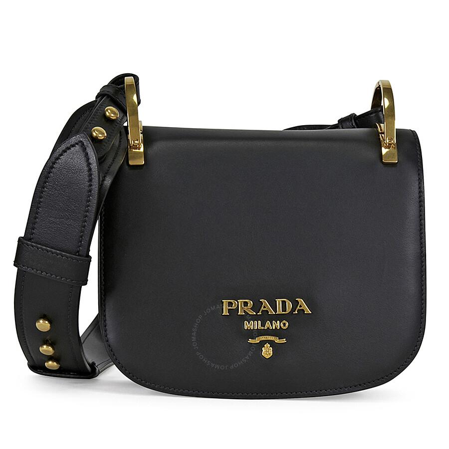 0130ce8ff65a Prada Pionniere Leather Shoulder Bag - Black - Pionniere - Prada - Handbags  - Jomashop