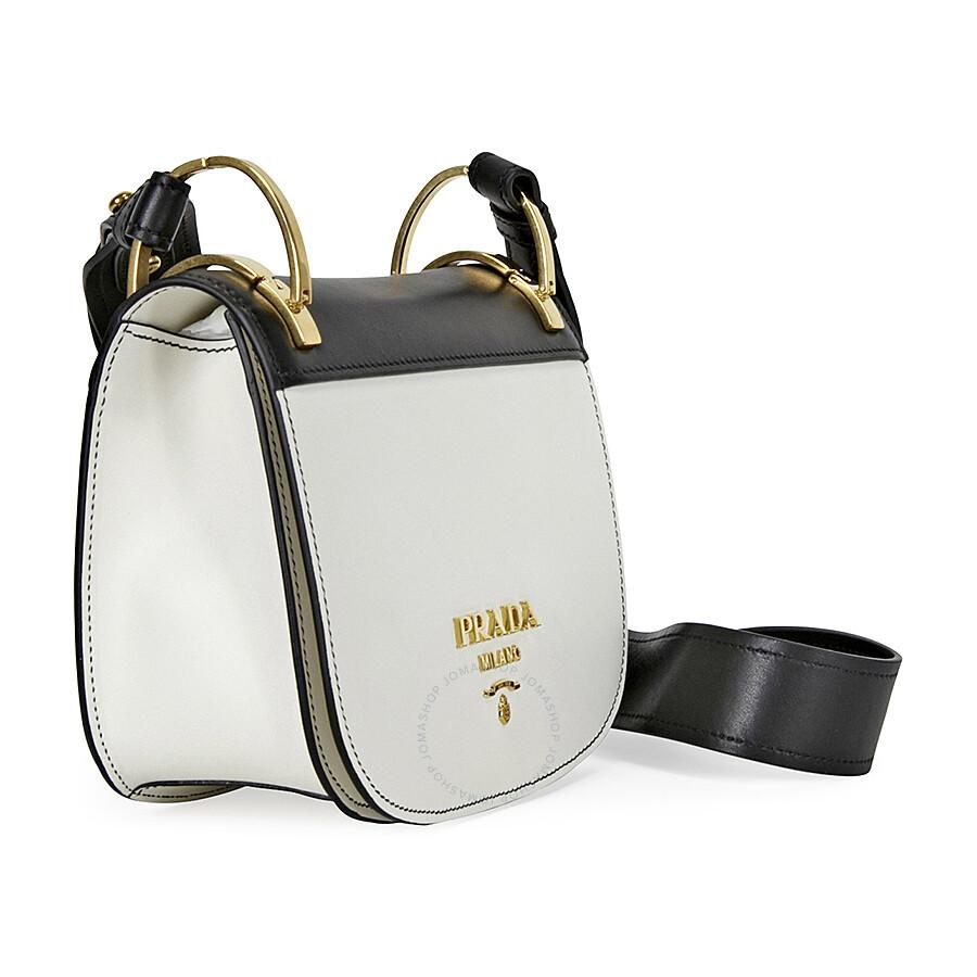8a094e0a35d0 Prada Pionniere Leather Shoulder Bag - Black and White - Pionniere ...