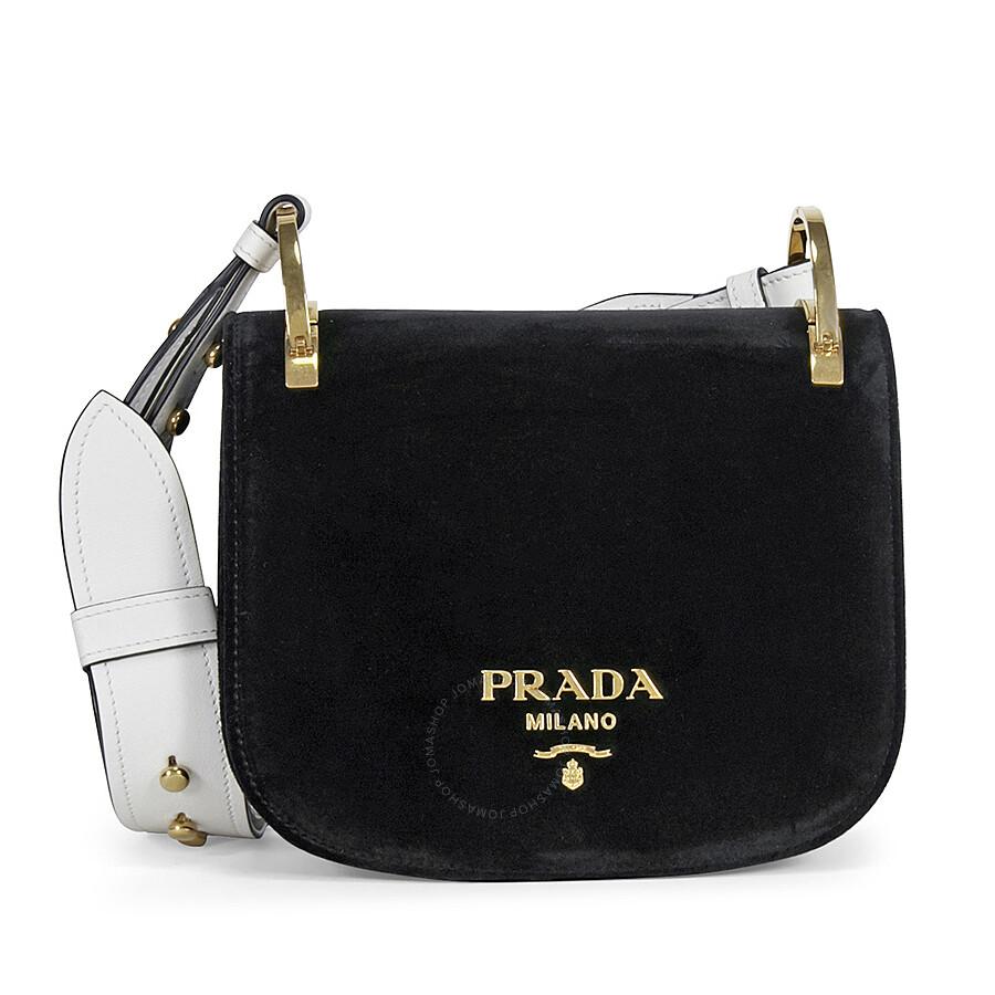 Prada Pionniere Velvet Shoulder Bag - Black and White Item No.  1BD039-2ENU-F0967 32bf163a68