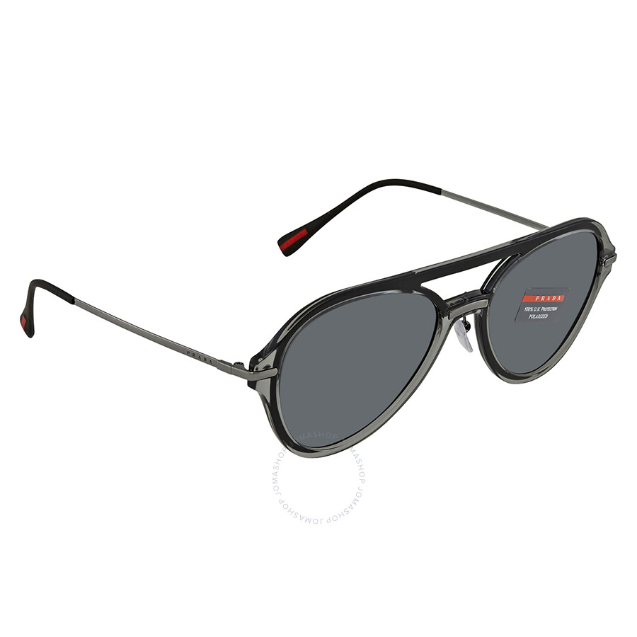a365db37dea Prada Polarized Grey Aviator Men s Sunglasses 0PS 04TS P2X5Z1 57 ...