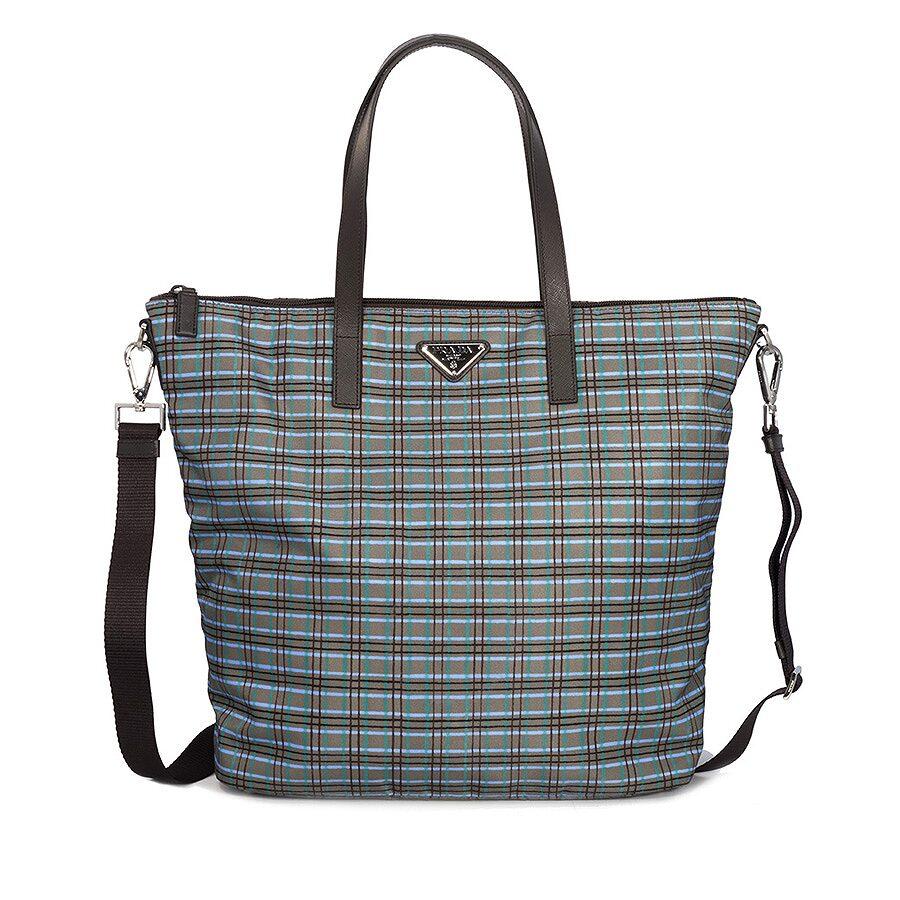 ca92674a39 Prada Printed Nylon Tote - Acqua Check - Prada - Handbags - Jomashop
