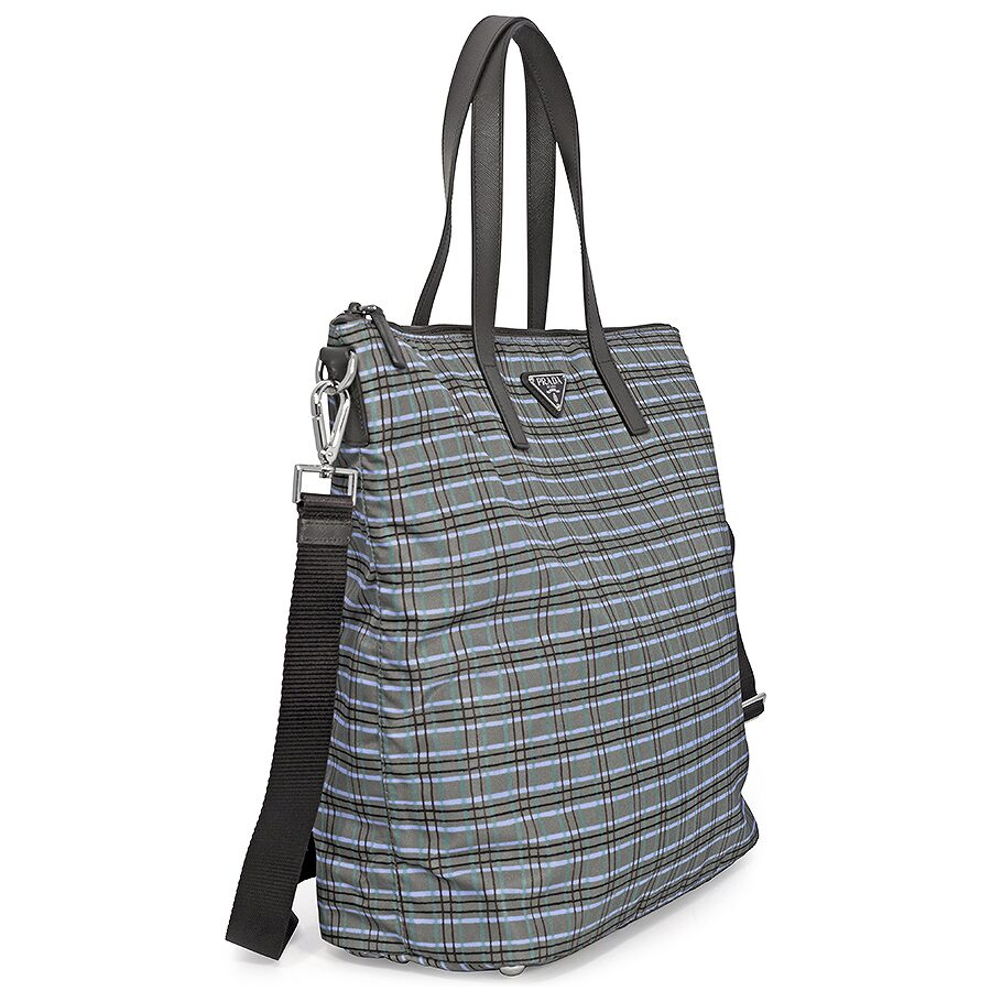 Prada Printed Nylon Tote - Acqua Check - Prada - Handbags - Jomashop 4a34c01f4a577