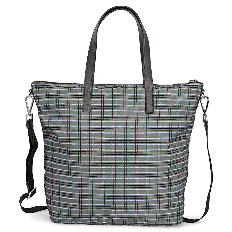 a06f7f0341ec32 Prada Printed Nylon Tote - Acqua Check - Prada - Handbags - Jomashop