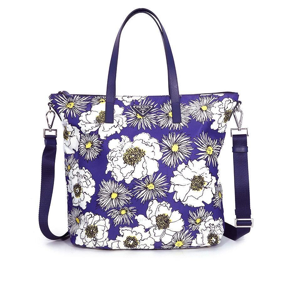 ee530af1b912 Prada Printed Nylon Tote - Bluette Fiore - Prada - Handbags - Jomashop