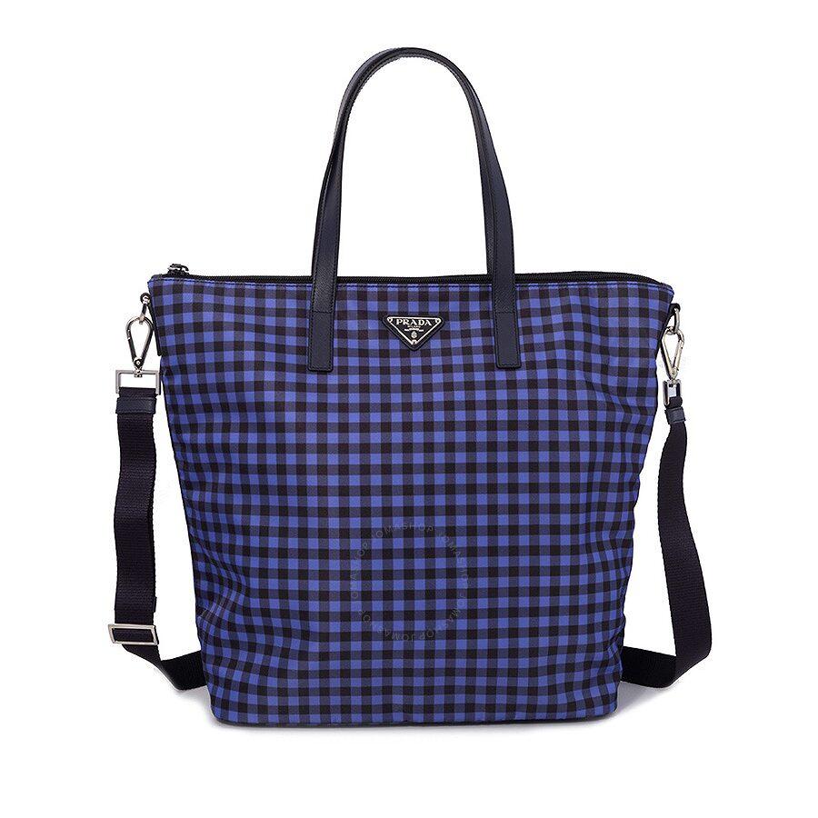 d215f77b6168 Prada Printed Nylon Tote - Bluette Vichy - Prada - Handbags - Jomashop