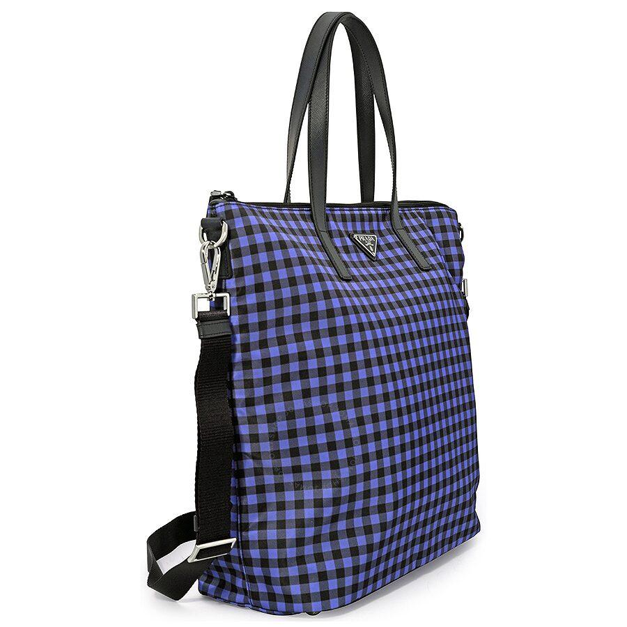 7adec47f3e30 Prada Printed Nylon Tote - Bluette Vichy - Prada - Handbags - Jomashop