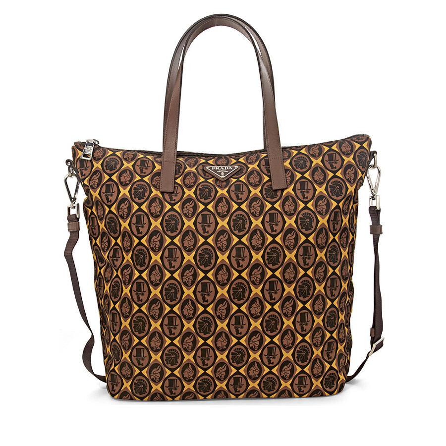 ac9758b6ae33 Prada Printed Nylon Tote - Giallo Cornici - Prada - Handbags - Jomashop