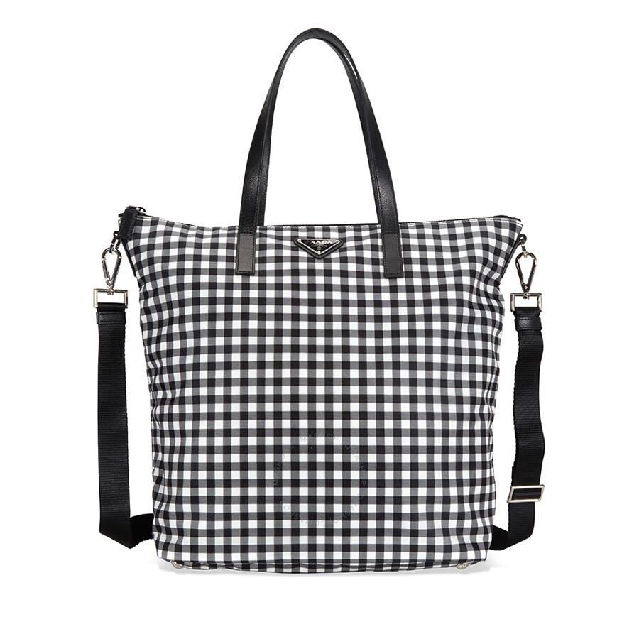 d72d3d6a1f3276 Prada Printed Nylon Tote - Nero Vichy - Prada - Handbags - Jomashop