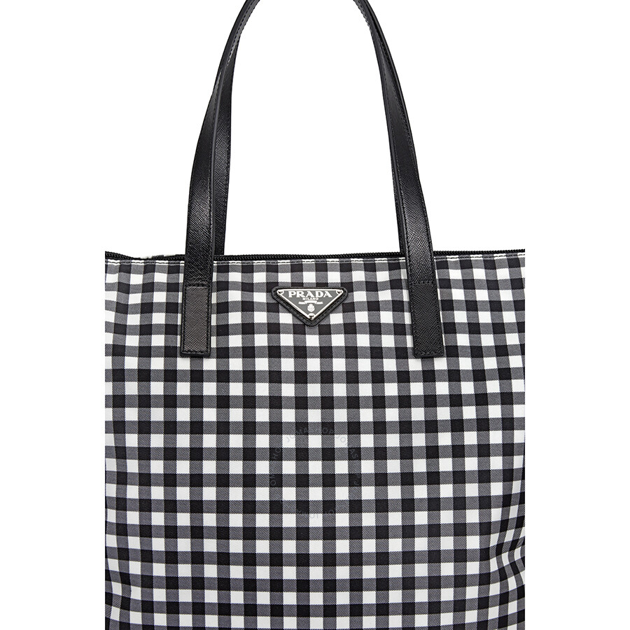 4f4e07a8a7 Prada Printed Nylon Tote - Nero Vichy - Prada - Handbags - Jomashop