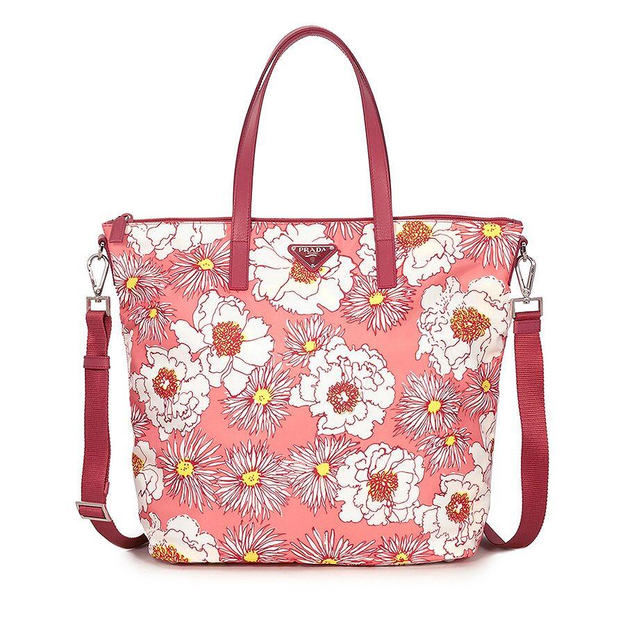 8ae4fb606d Prada Printed Nylon Tote - Rosa Fiore - Prada - Handbags - Jomashop
