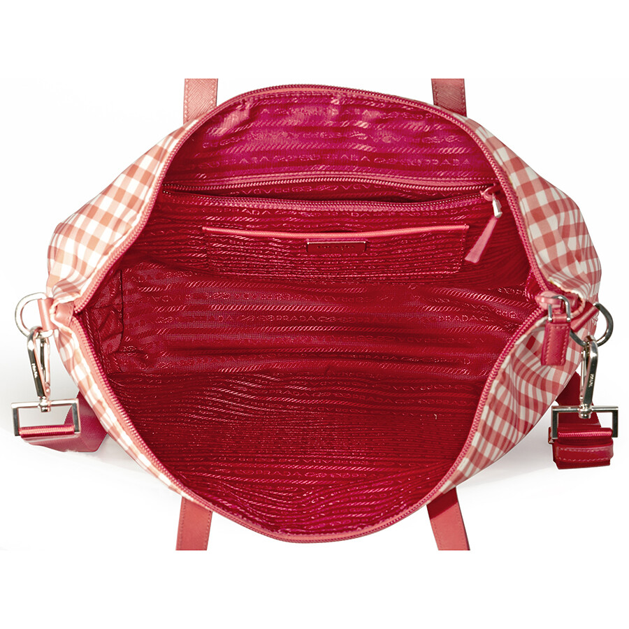 c3ac66055a50 Prada Printed Nylon Tote - Rosso Vichy - Prada - Handbags - Jomashop