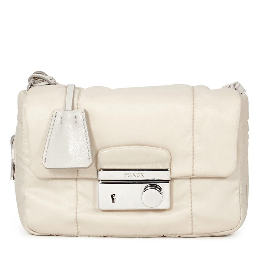 3f776cb5b5ee Prada Quilted Fabric Crossbody - Ivory - Prada - Handbags - Jomashop